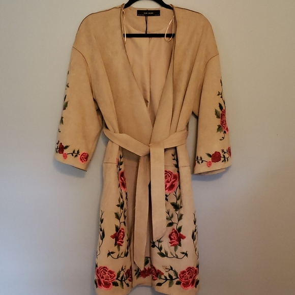 Zara Gorgeous Embroidered Faux Suede Robe